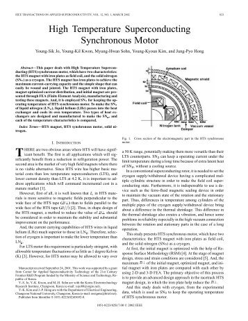 High temperature superconducting synchronous motor - IEEE Xplore