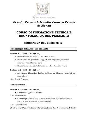 programma corso formazione 2012 bis - Camerapenaledimonza.it