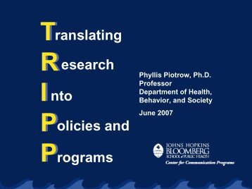 TRIPP: Communication - Communicating with Policymakers about ...