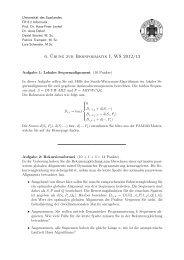6. ¨Ubung zur Bioinformatik I, WS 2012/13 - Universität des ...