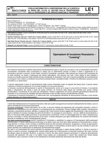 """Operazioni di locazione finanziaria – """"Leasing"""" - Gruppo Banca Carige"""