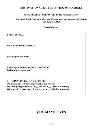 Motivational Interviewing Worksheet - Maryland Chapter American ...