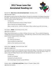 2012 Texas Lone Star List- Annotated