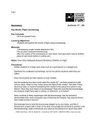 Boomerang Audience: 3rd – 5th Key Words: Flight ... - Cosi