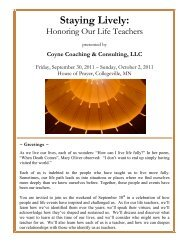 Staying Lively: Honoring Our Life Teachers (2011) - Dennis Coyne ...