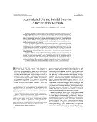 Acute Alcohol Use and Suicidal Behavior: A Review of the Literature