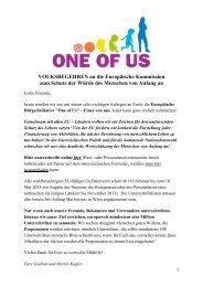 VOLKSBEGEHREN an die Europäische Kommission zum Schutz ...