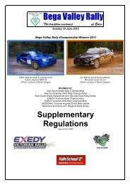 Supplementary Regulations - Bega Valley Rally