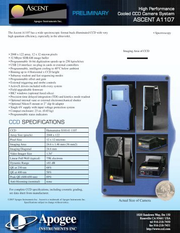 ascent a1107 ccd specifications ascent ascent preliminary