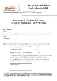 Bulletin d'adhésion individuelle 2010 - Peuples solidaires