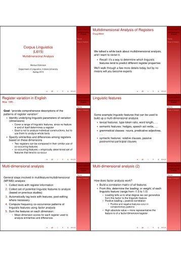 Corpus Linguistics (L615) Multidimensional ... - Indiana University
