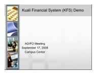 Kuali Financial System (KFS) Demo