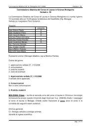 Commissione didattica del Corso di Laurea in Scienze Biologiche