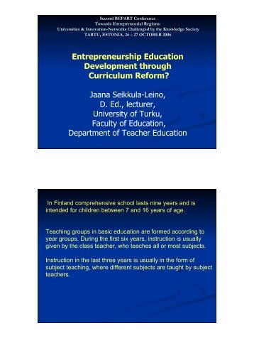 Entrepreneurship Education Development through Curriculum ...