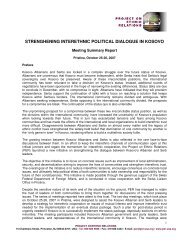 Strengthening Interethnic Dialogue in Kosovo - Project on Ethnic ...