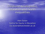Childhood development, education and health inequalities