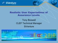 ID 58 Tony Boswell - Realistic User Expectations of Assurance Levels