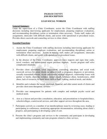Social Worker Job Description Social Worker Job Description Sample
