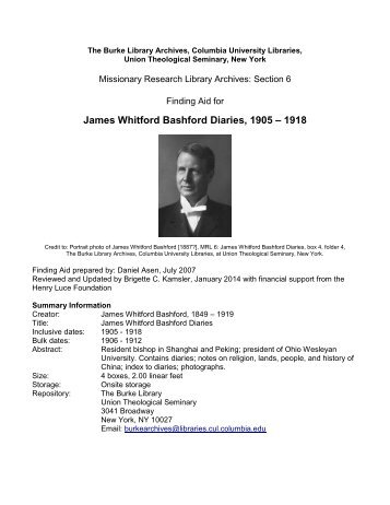 James Whitford Bashford Diaries - Columbia University Libraries