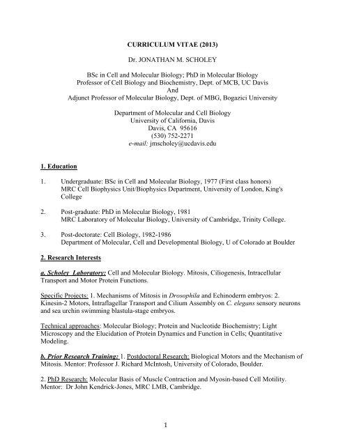 CURRICULUM VITAE - Department of Molecular and Cellular Biology