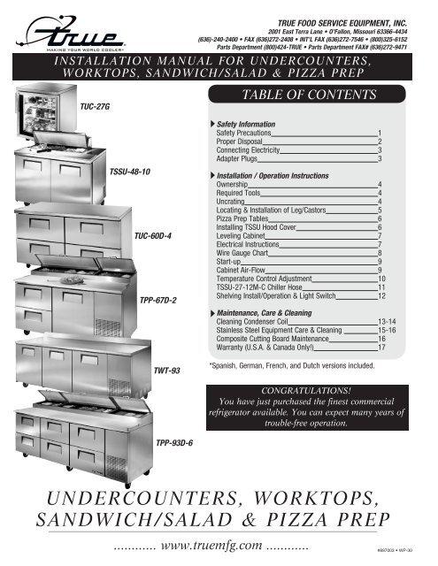 undercounters, worktops, sandwich/salad & pizza prep | True Freezer Tuc 48f Wiring Diagrams Model |  | Yumpu