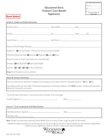 Educational Extra Orphan's Care Benefit Application - Woodmen.org