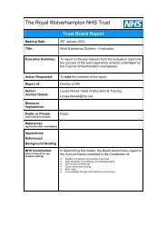 Work Experience Scheme – Evaluation - The Royal Wolverhampton ...