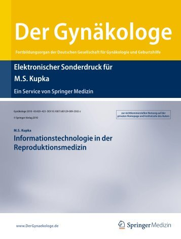 Informationstech- nologie in der Reproduktionsmedizin