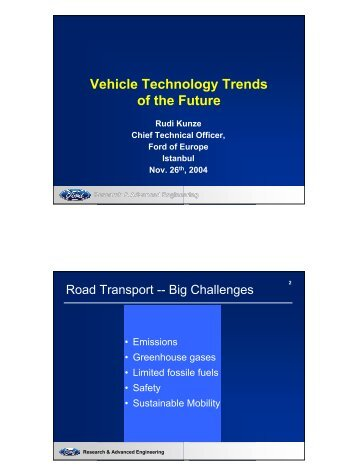 Vehicle Technology Trends of the Future