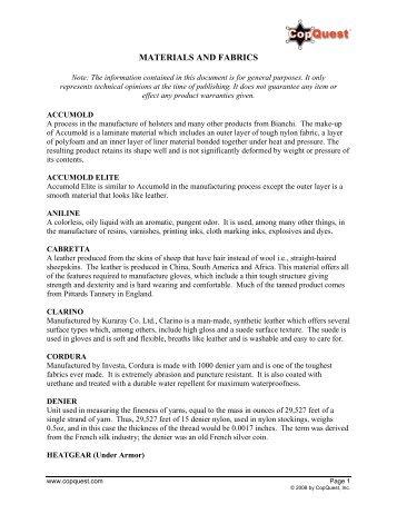 MATERIALS AND FABRICS - CopQuest