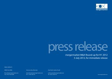 mergermarket M&A Round-up for H1 2012 5 July 2012, for ...