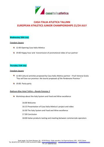 casa italia atletica tallinn european athletics junior championships ...