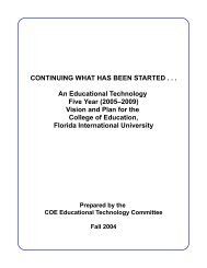 Educational Technology Five Year 2005-2009 - College of Education