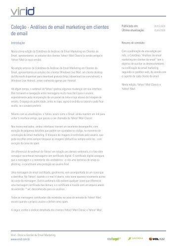 Coleção - Análises de email marketing em clientes de email