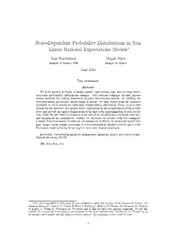 State-Dependent Probability Distributions in Non Linear ... - Dynare