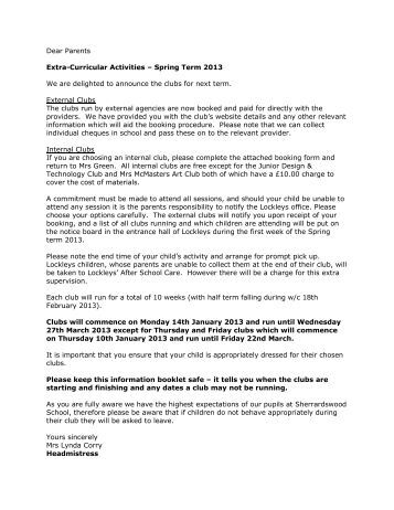 Dear Parents Extra-Curricular Activities – Spring Term 2013 We are ...