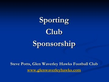 Sporting Club Sponsorship (PDF, 264 kB)
