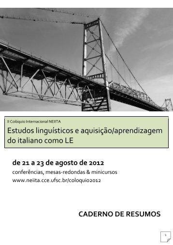 Cadernos de Resumos - Versão em .PDF - NEIITA - Núcleo de ...
