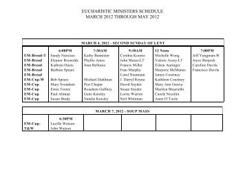 eucharistic ministers schedule march 2012 through may 2012
