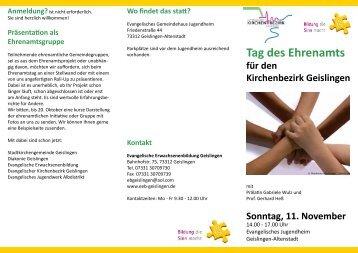 Tag des Ehrenamts - Evangelische Erwachsenenbildung Geislingen