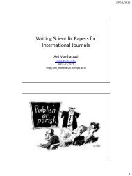 Writing Scientific Papers for International Journals - Comments on