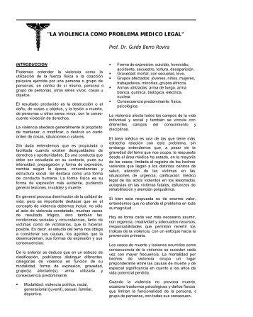 """""""LA VIOLENCIA COMO PROBLEMA MEDICO LEGAL"""" - IIN"""
