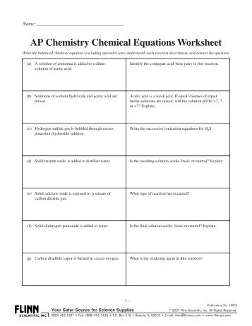 ap chemistry chemical equations worksheet. Black Bedroom Furniture Sets. Home Design Ideas
