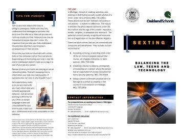 Sexting Brochure - Balancing The Law, Teens ... - Oakland Schools