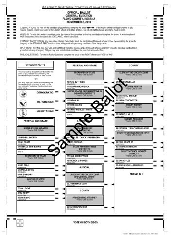 Ballot Sample - Floyd County Indiana - State of Indiana
