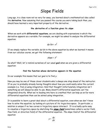 Worksheets Slope Fields Worksheet slope field worksheet with answers intrepidpath ap fields key