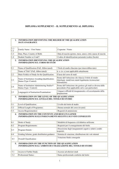 Diploma Supplement Miur