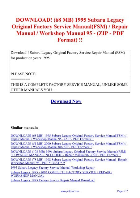 subaru legacy ej22 1991 1994 service repair manual