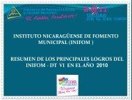 Resultados Alcanzados 2010. - Instituto Nicaragüense de Fomento ...