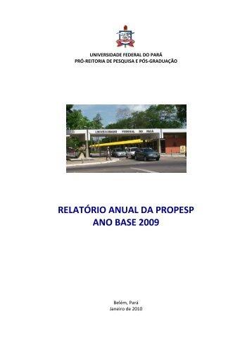 Relatório Anual da Propesp (2009) - Universidade Federal do Pará